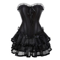 Black Corsets Dress for Women Sexy Overbust Corset Bustier Lingerie Top With mini Skirt Gothic Moulin Rouge Showgirl Clubwear