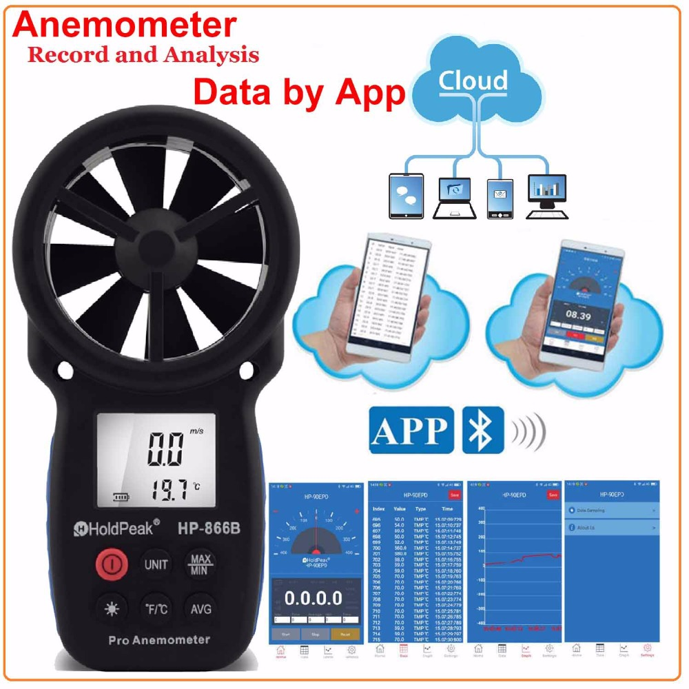 HOLDPEAK 866B-APP Digital Anemometer With Mobile APP Wind Speed Meter Measures Temperature Wind Chill with Backlight Anemometer цены