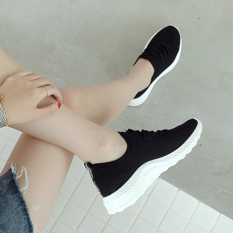New Trend Breathable Sneakers Women Sport Shoes Socks Running Shoes Outdoor Athletic Lace up Sneakers Health Weight Jogging Shoe