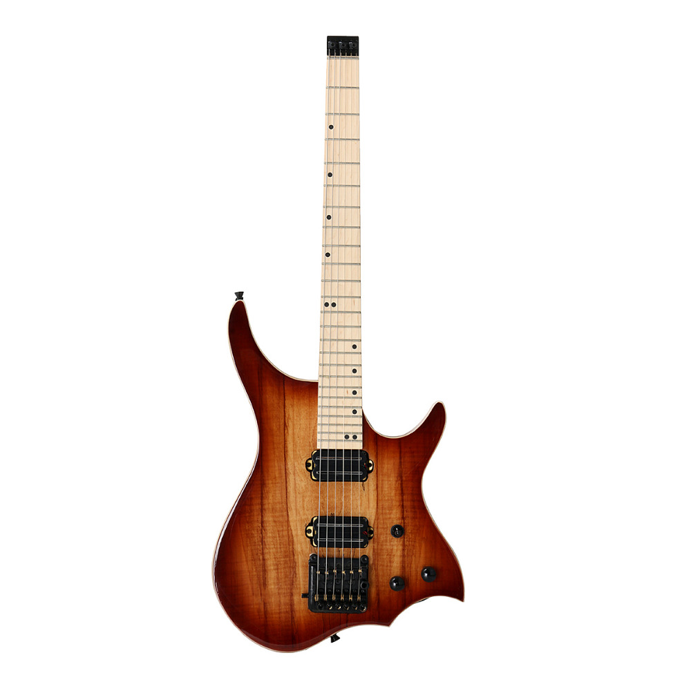 Solid Basswood Flame Electric Guitar Brown Spalted Maple Top Musical Instrument