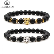 HOBBORN Trendy Natural Stone Men Bracelet Handmade 8mm Semi-precious Beads Strand Women Bracelets Meditation Jewelry Gift