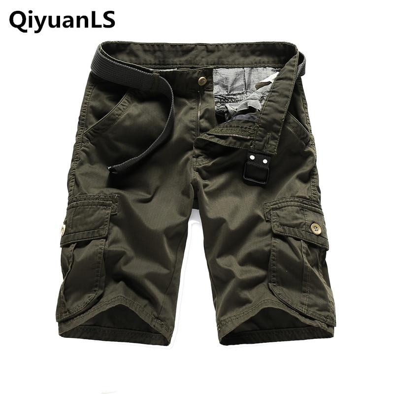 QiyuanLS Men Cargo Shorts Casual Loose Short Camouflage Military Summer Knee Length Shorts Men Cotton Male Fashion Army Shorts