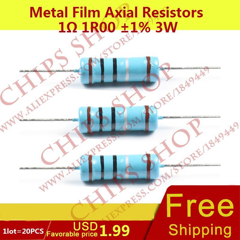 1LOT=20PCS Metal Film Axial Resistors 1ohm 1R00 1% 3W Wattage3W resistor