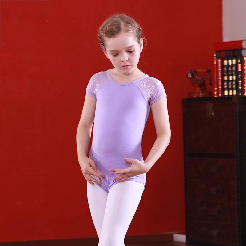 Ballet Gymnastics Leotard Girls Lace Dress Short Sleeve Round Neck Leotards Kids Bodysuit Practice Wear Dancing Clothes DN1866