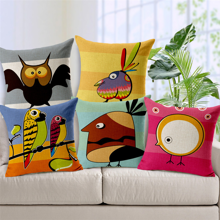 online buy wholesale kids seating from china kids seating  - wierd bireds cotton cushion cover thick texture pillow case with for homeoffice work seating and