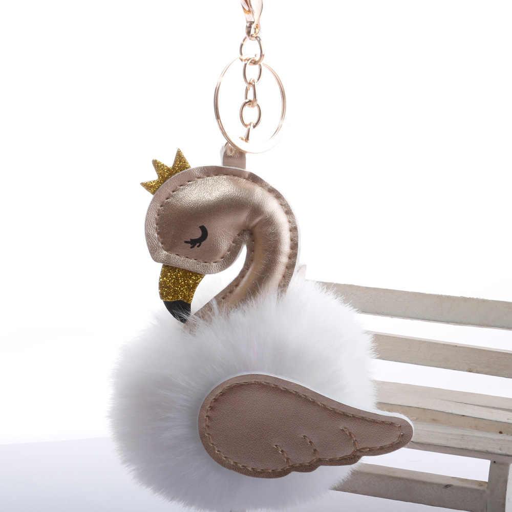 Bonito Crown Swan Crianças Boneca de Pelúcia Favor Menina Mulheres Bag Pingente de Chave Da Cadeia de Brinquedo Do Bebê Bola De Pêlo Decors Crianças Brinquedo presente de Natal de aniversário
