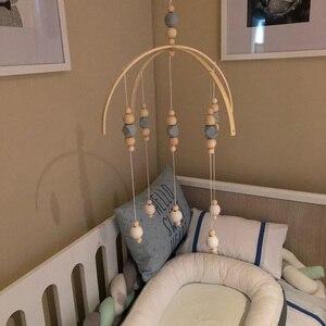 Image 2 - Bébé hochet jouets mobiles perles en bois berceau jouet lit suspendu nouveau né vent carillons cloche nordique enfants chambre décoration photographie accessoires