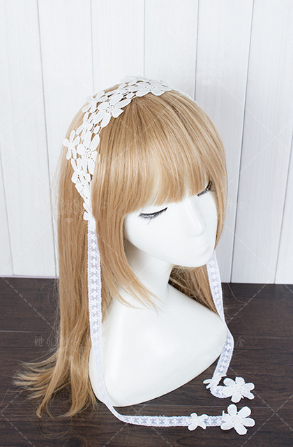 Princess sweet lolita Hairbands Water soluble lace Flower  hair white flowers with hand hairpin headdress fairy bride   GSH037 юбка other flower lolita b113