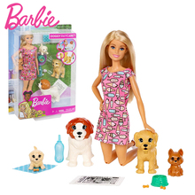 Original Brand Barbie Doll with Pet Princess Assortment Girl Fashion Fashionista Doll Toys for Girls Children Birthday Gift Toy free shipping christmas gift birthday gift 2016 fashion doll with clothes and shoes accessories for barbie doll toys for girls