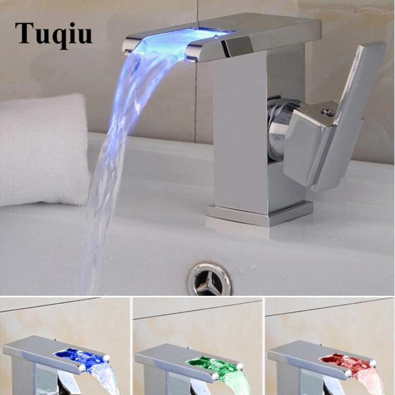 Bathroom Waterfall Faucet LED Basin Faucet Chrome Brass Sink Mixer Tap Temperature Controlled Faucet Modern Water
