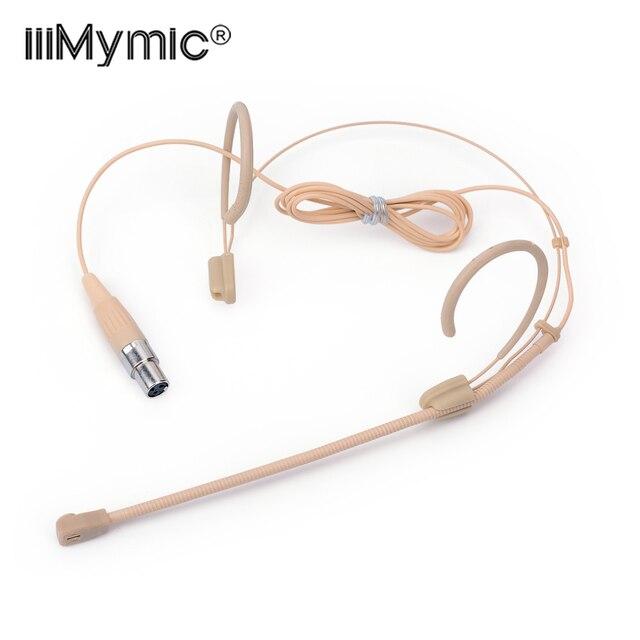Profesjonalne beżowy 3 Pin zestaw słuchawkowy mikrofon kondensujący dookólna mowy Headworn Mic dla AKG bezprzewodowy System TA3F 3 Pin XLR