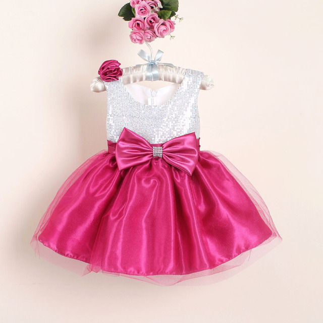 82b6a72144966 newborn Girl Christmas Dresses with Bow infant girl birthday dress Sequined  Baby Party Dress for wedding