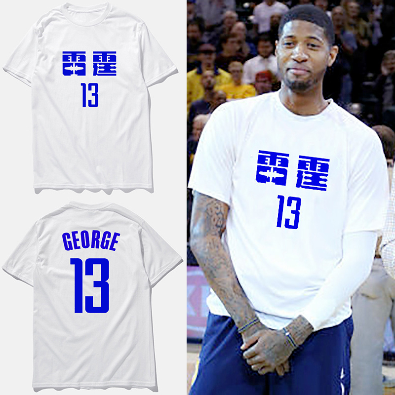 Paul George baksetball jersey new design cotton casual men fashion t shirts  thunder print t shirt male 91532f302