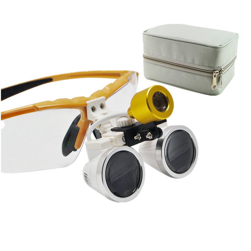 Quality Guarantee-Wholesale dental loupes 2.5X 320mm Dental Surgical Binocular with LED Head Light Lamp Yellow+ Black Carry Case good quality dental cordless endo motor with led light treatment 16 1 reduction contra angle