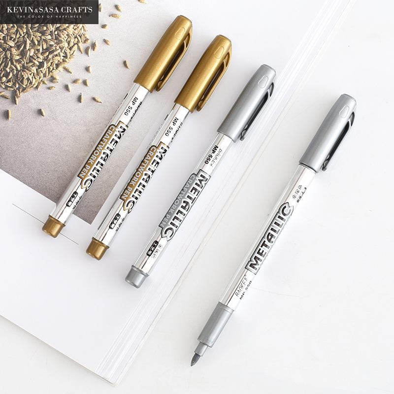 2Pcs/Set Marker Pen Stationery School Supplies Pen School Stationery Office Gold And Silver Marker Pen Kids Gift Office Tools