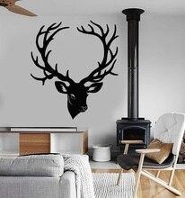 Vinilo calcomanías de pared ciervos cuernos de la cabeza bosque animal hunter dormitorio sala de estar decoración del hogar arte mural papel tapiz 2WS20