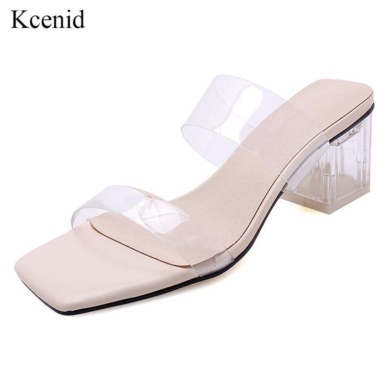 Summer Womens High Block Heels Ankle Strap Sandals Peep Toe transparency Plus sz