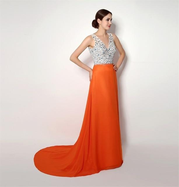 2018 backlackgirl elegant beautiful hot long sleeveless Deep V Neck Beading  Top Front Skirts Slit Prom Evening Dress as pictures 3b9793d11cfa