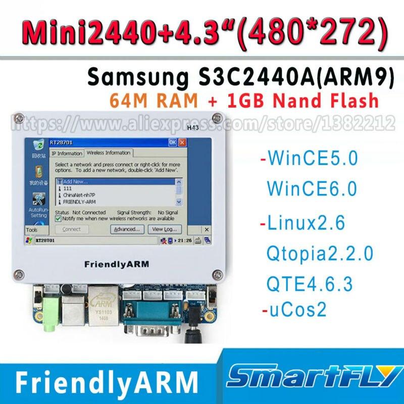 MINI2440+4.3 inch 480*272 touch screen FriendlyARM Development Board kit ARM ,64MRam+1G Flash,S3C2440 ARM9 WinCE/linux ucos