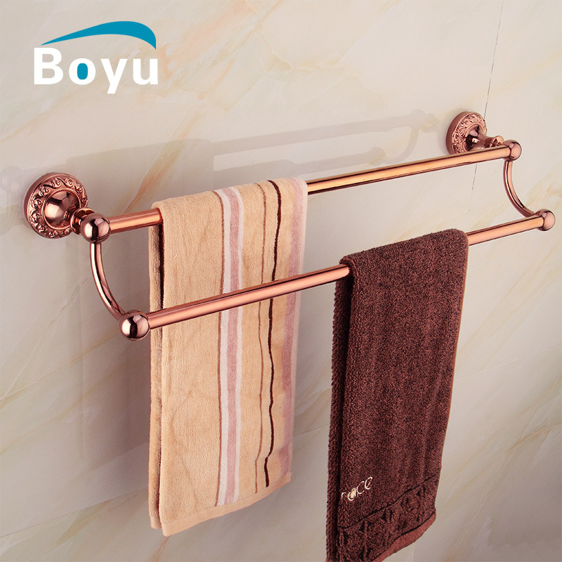 Antique Carved 304 Stainless Steel Bathroom Double Polished Towel Bar Rose Gold Bathroom Towel Rack Holder Bathroom Accessories new arrival bathroom towel rack luxury antique copper towel bars contemporary stainless steel bathroom accessories 60cm k301