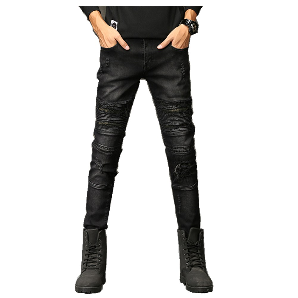 2018 New Fashion Jeans Hip hop rock moto mens designer clothes new fashion distressed ripped skinny denim biker jeans men pants
