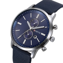 North Brand Men's Watch Business Sport Male Wristwatch Blue Genuine Leather Unique Casual Quartz Watch for Man Waterproof