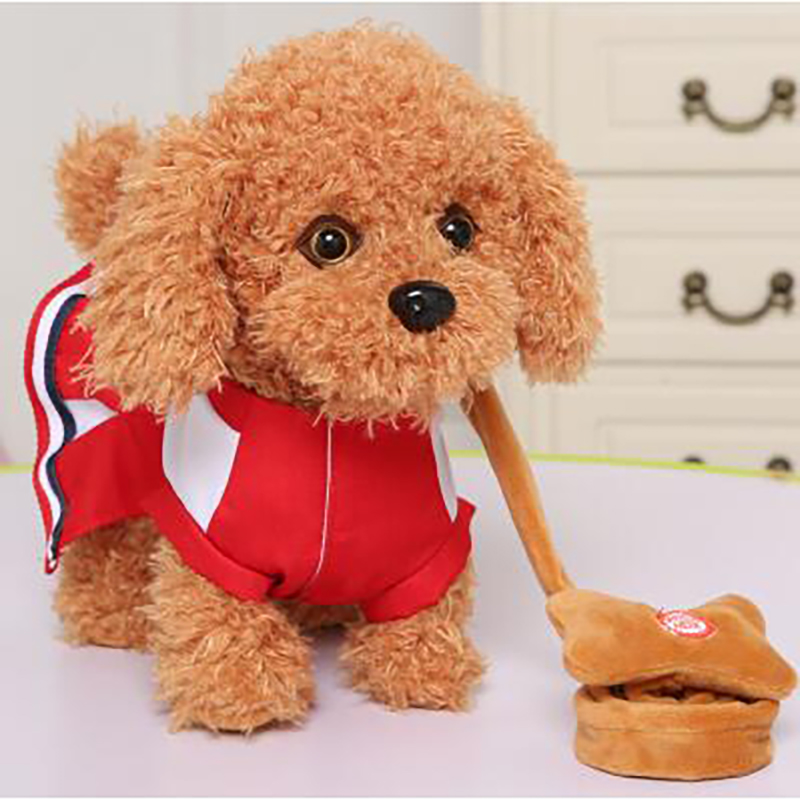 Electric leash dog 2018 New arrive Teddy Plush Toys Music machinery remote control Leash dog electronic toys For Children
