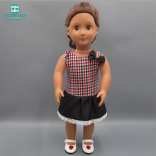 Doll clothes for 45cm American' doll accessories fashion Wine red plaid dress casual dress(China)