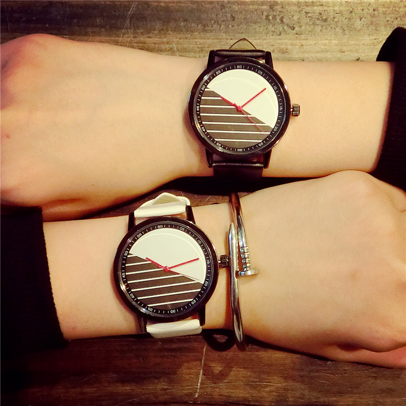 100% New Fashion Japan Movt Red Point Leather Analog !