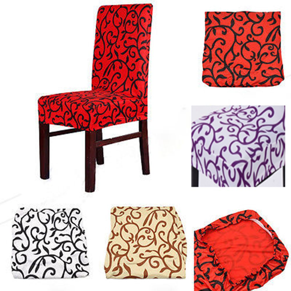 1 Piece Mixed Color Polyester Spandex Dining Chair Covers For Wedding Party Removable Room Office Stool Cover Brown