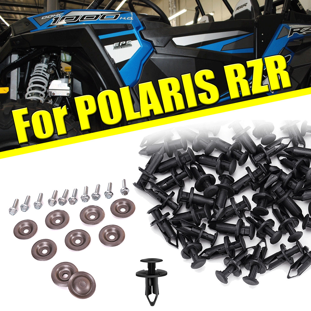 KEMIMOTO 100x Fender Clips Body Rivets And 10x Bolts & Washers Skid Plate UTV For Polaris Sportsman Rangers RZR