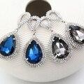 Moda de Prata Banhado A Gota de Água Brinco Grande Pedra de Cristal Azul Longo Pendurado Brincos de Pingente Feminino Jóias de Strass