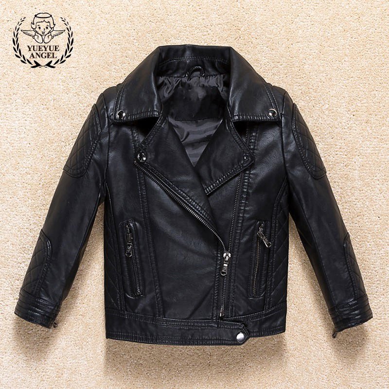 2018 New Boys Black Pu Leather Jacket Lapel Collar Zipper Biker Coat Kids Windbreaker Spring Casual Outerwear Jackets Streetwear