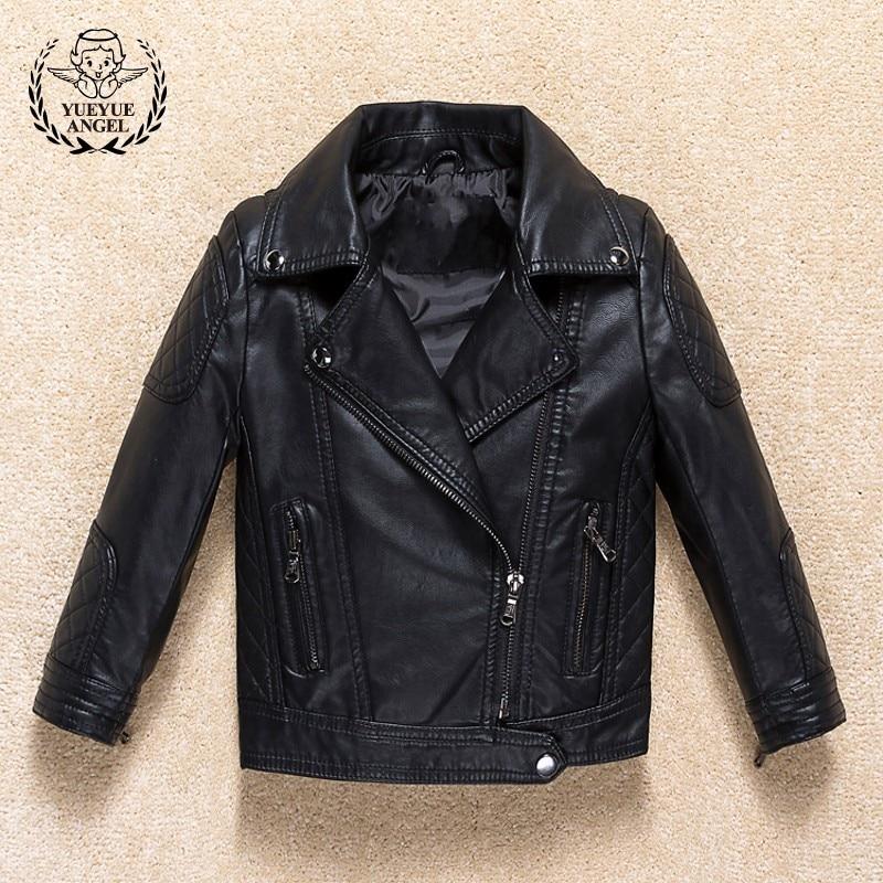 2018 New Boys Black Pu Leather Jacket Lapel Collar Zipper Biker Coat Kids Windbreaker Spring Casual Outerwear Jackets Streetwear