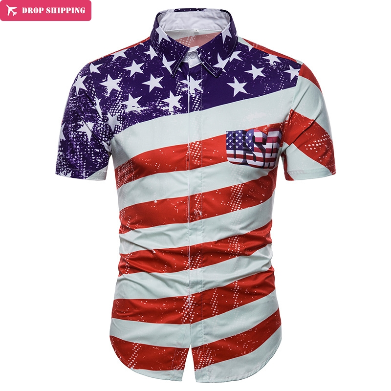 USA Flag Print Shirt Men/Women 2018 Brand New Short Sleeve Chemise Homme Casual Slim Fit Striped Flag Summer Mens 3D Shirts XXXL