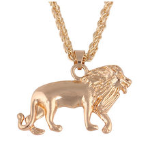 New Pendant Necklace Men and Women 2019 Creative Golden Lion Pendant Necklace Hot Sale Men and Women Elegant Necklace Accessorie(China)