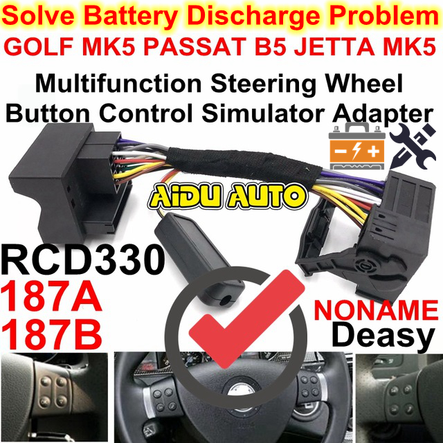 RCD330 Multifunction Steering Wheel Button Control Canbus gateway Simulator Adapter For VW Golf 5 6 Jetta MK5 Passat B6 187B 187