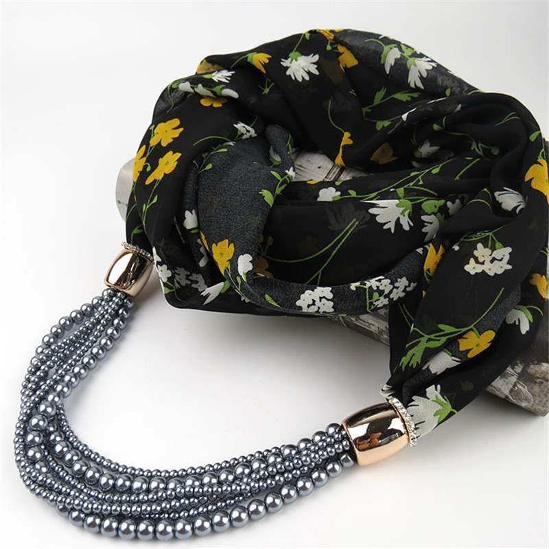 26 color Fashion Printing Flowers chiffon Beads Pendant Scarf Necklace For Women Scarves New Statement Collar Jewelry