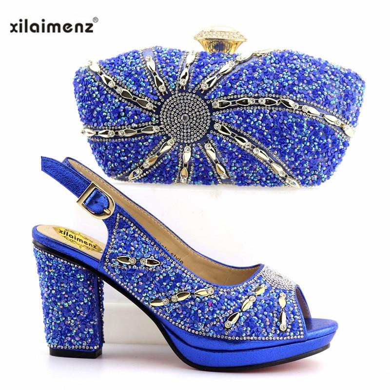 2019 Rojo Imitación Bolso purple Maduros blue De Diamantes Y Con Italiano Mujer Diseño Color orange Azul Black Zapatos A Nigeria Bolsos Juego Decorado 44qUrX
