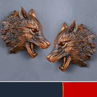 Creative Wolf Head Wall Decoration Statue Simulation of animals Resin Crafts Living room bedroom wall sticker Retro Home decor