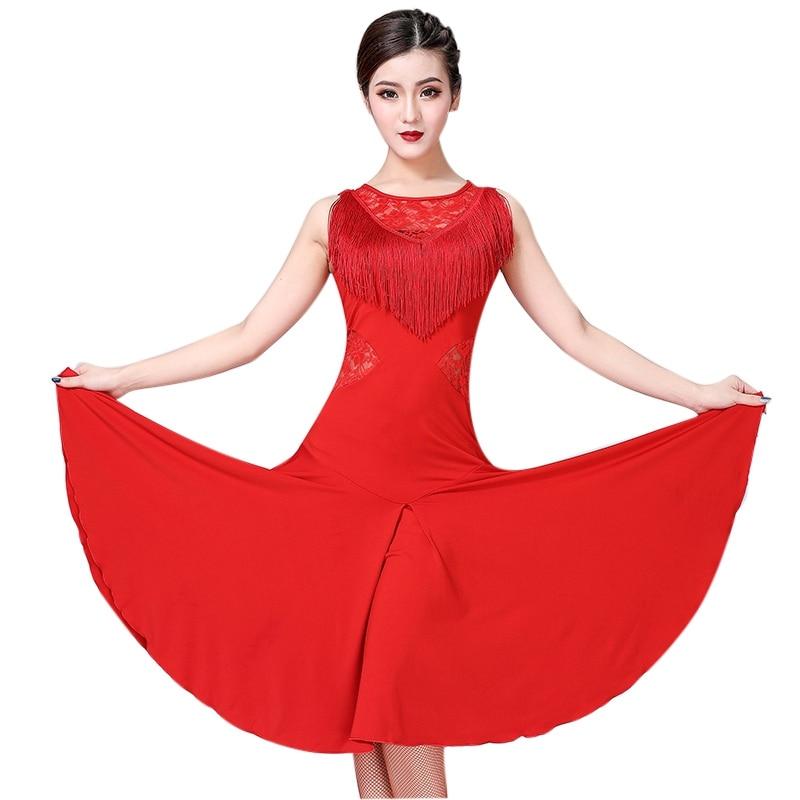 New Fashion Latin Dance Dress Women Tassel Ballroom/Tango/Rumba/Latin Dance Costume Sleeveless Latin Competition Dancing Dress