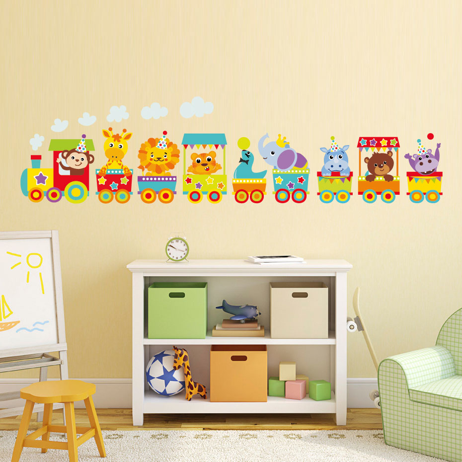 Cartoon Animals Elephant Lion Monkey Train Color Wall Sticker For ...