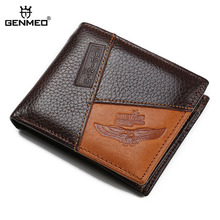купить GENMEO New Arrival Genuine Leather Wallets Men Cow Leather Purse with Card Holders Men Clutch Bag with Zipper Coin Purse Bolsa по цене 974.76 рублей