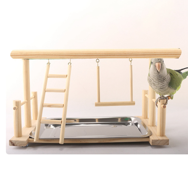 Bird standing parrot training frame bird playground with food tray pet supplies bird toys wooden climbing training parrot toys
