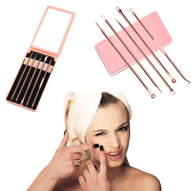 ACNE CLIP SET 5pcs Stainless Steel Pimple Extractor Blackhead Remover Tool Blemish Comedone Acne Extractor Removal Needles