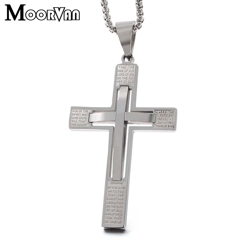 Moorvan english word scripture,men bible pendant necklace cross catholic jewelry,stainless steel classical style,crucifix man