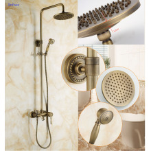 Dofaso Luxury Exposed Shower Faucets NEW Antique Brass Rainfall Shower Set Faucet + Tub Mixer Tap + Handheld Shower Wall Mounted new luxury wall mounted antique carving white