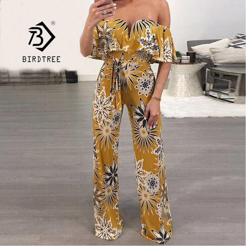 Summer Holiday Strapless Ruffles Floral Sexy Party Lady Jumpsuit 2018 New Sleeveless Casual Lace Up Waist Jumpsuit Hot S83724F