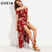 SheIn 2016 Summer Beach Women Rompers And Jumpsuits Burgundy Flower Print Short Sleeve Off The Shoulder