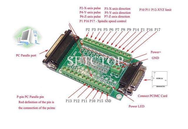 CNC MACH3 EMC2 sencilla placa de interfaz funciona con tarjeta PCIMC